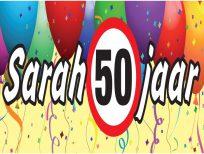 banner-spandoek-sarah-50-jaar-huren-bij-opblaasfiguur