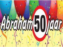 Banner spandoek abraham 50 jaar