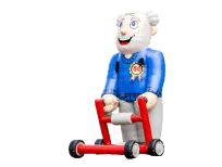 Man met rollator opblaasfiguur