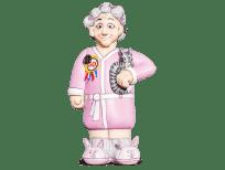 Vrouw in pyjama opblaasfiguur